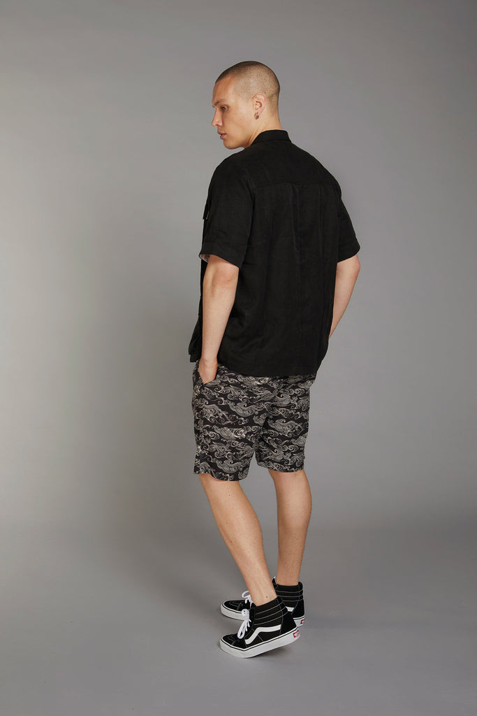 Bobby Organic Linen & Viscose Pleat Shorts in Uluwatu Black Print