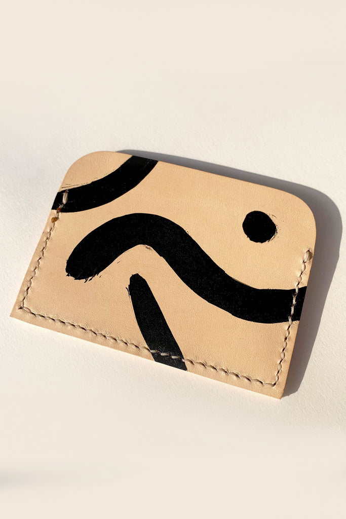 Mika Handmade Vegetable Leather Card Holder in Nude with Black Shapes