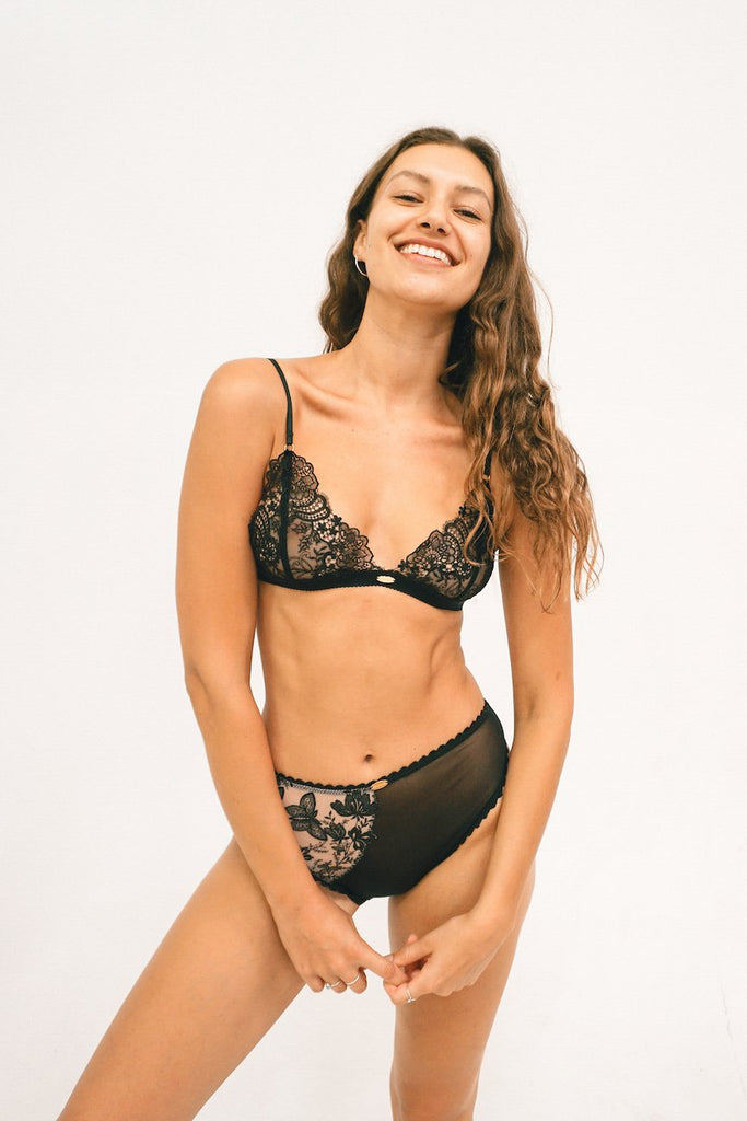 Pepper Handmade Deadstock Triangle Bralette in Black