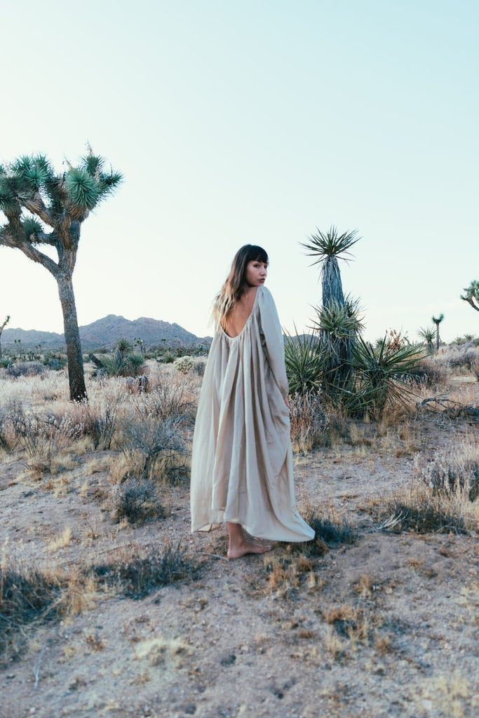 Epic Odyessey Handmade Peace Silk Dress in Sand