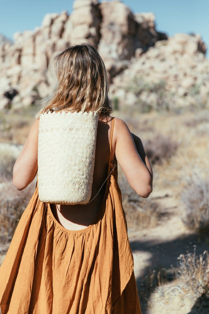 Closed Weave Borneo Natural Handwoven Fibers Backpack