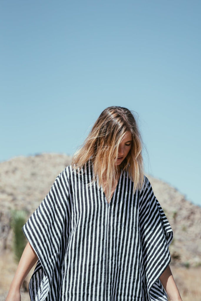 'Let There Be Peace' Handwoven Organic Cotton Kaftan in Black Stripe