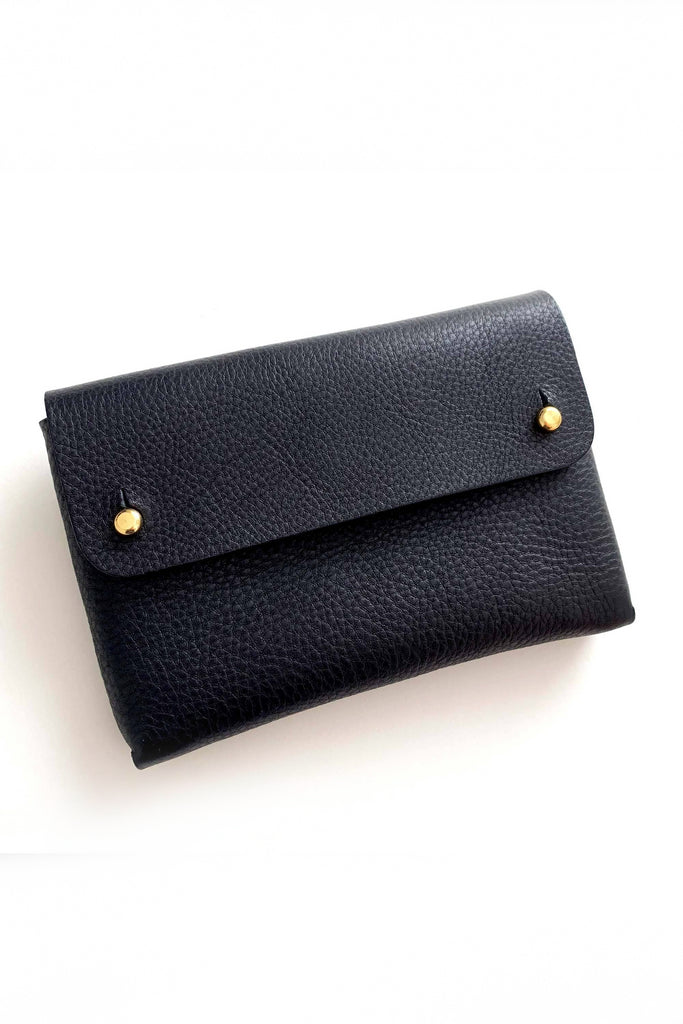 Mona Handmade Vegetable Leather Pouch in Black