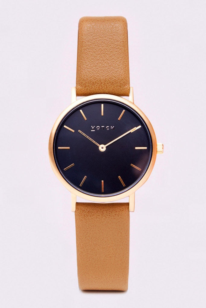 Petite Vegan Leather Watch in Black, Gold, Tan Strap
