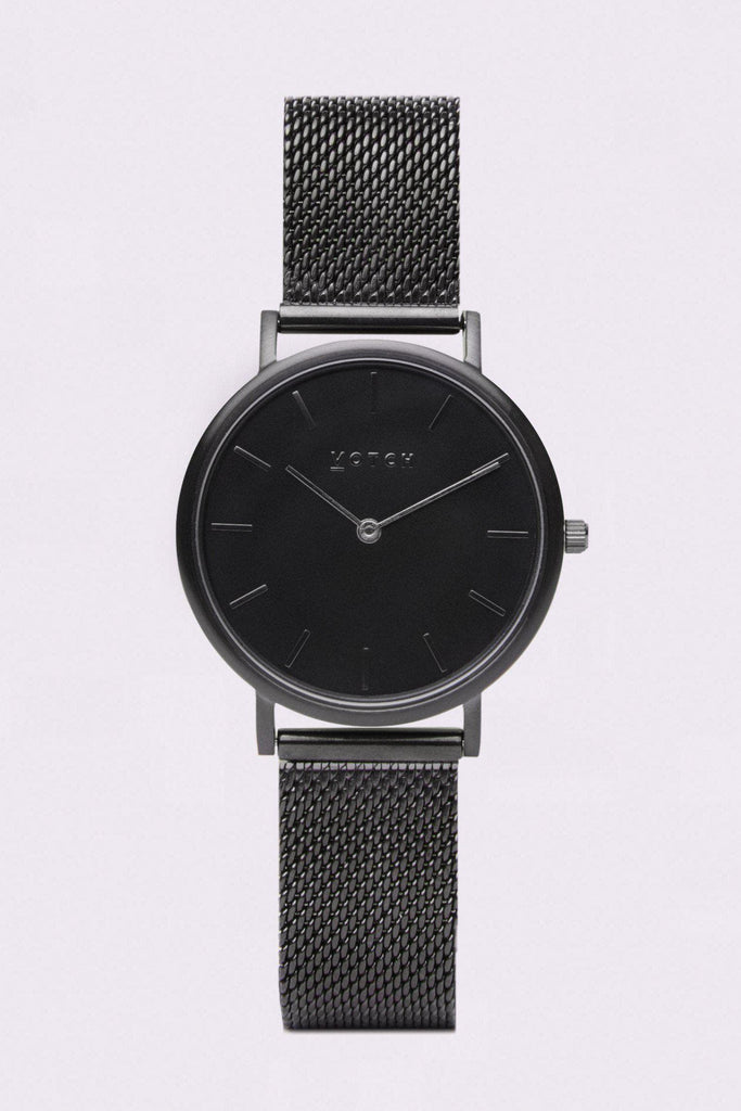 Mesh Petite Stainless Steel Watch in Black, Black, Black Strap