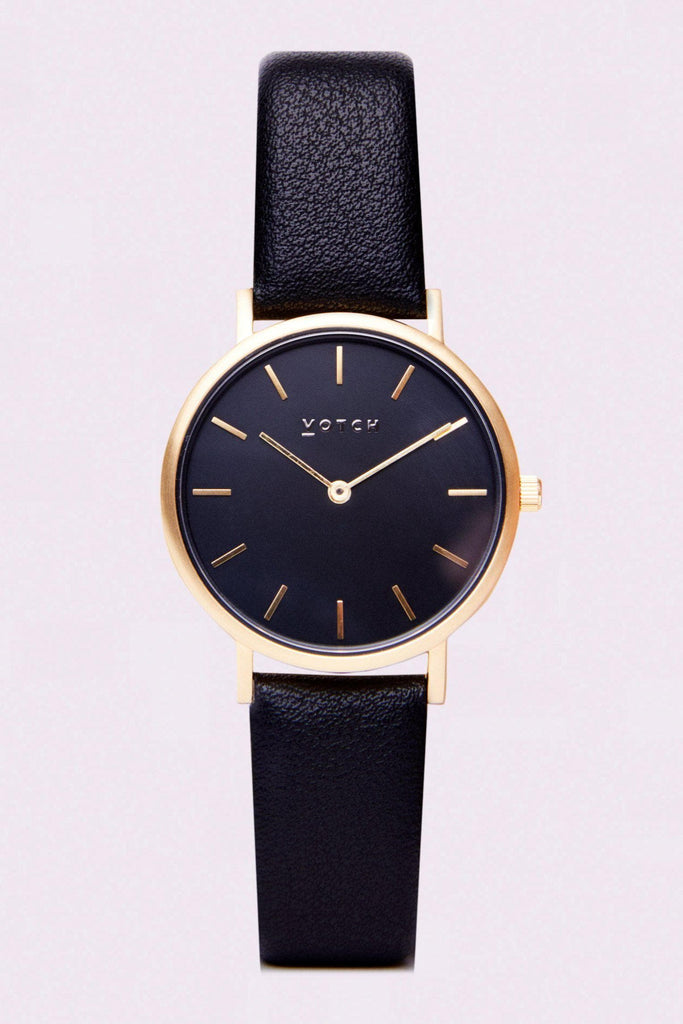 Petite Vegan Leather Watch in Black, Gold, Black Strap