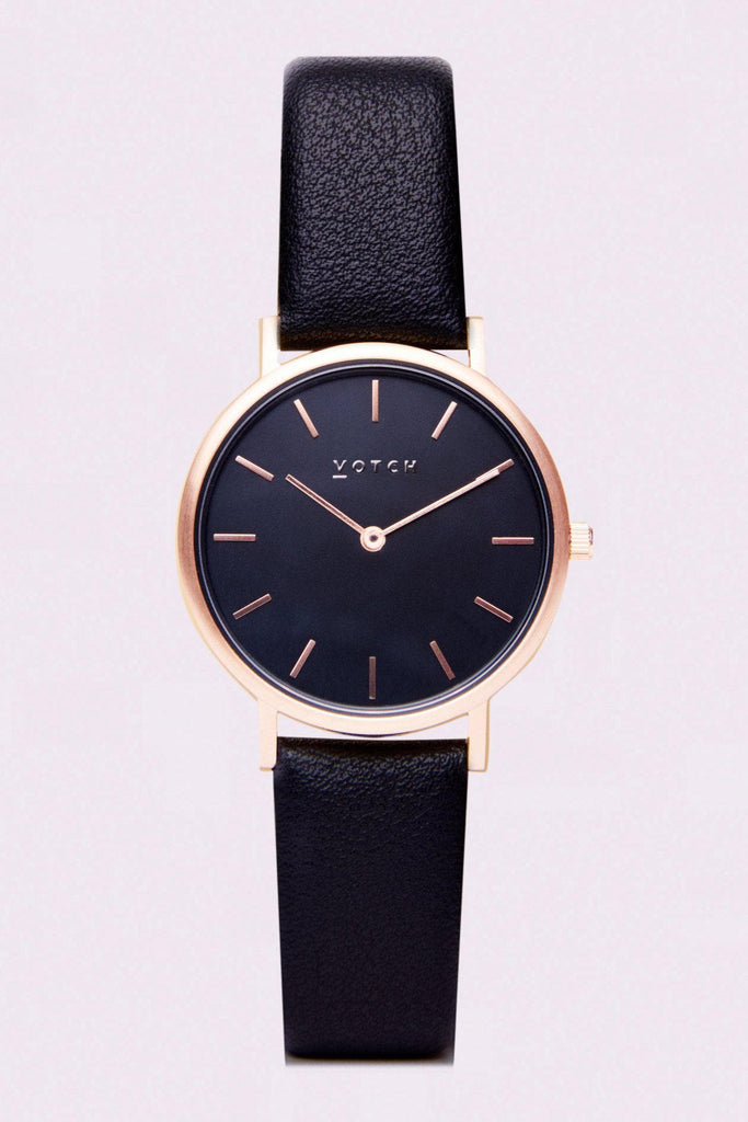 Petite Vegan Leather Watch in Black, Rose Gold, Black Strap
