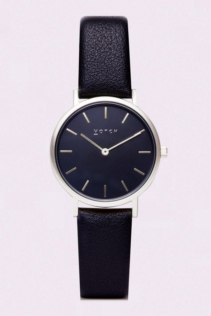 Petite Vegan Leather Watch in Black, Silver, Black Strap
