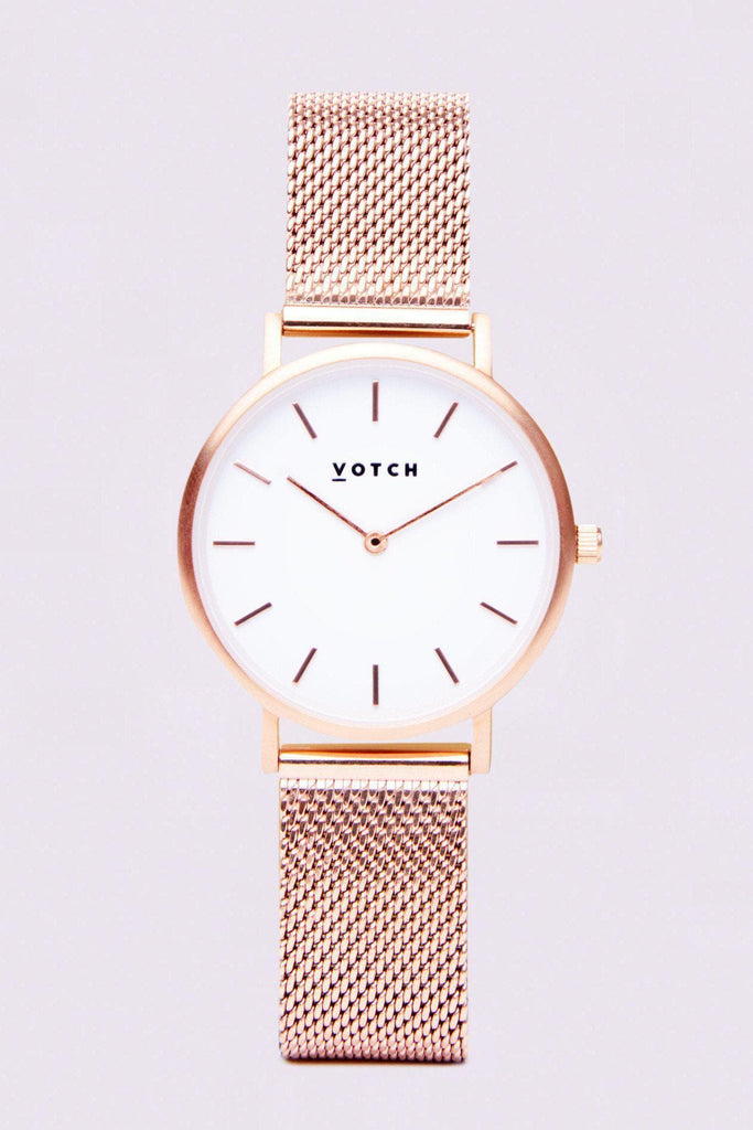 Mesh Petite Stainless Steel Watch in White, Rose Gold, Rose Gold Strap