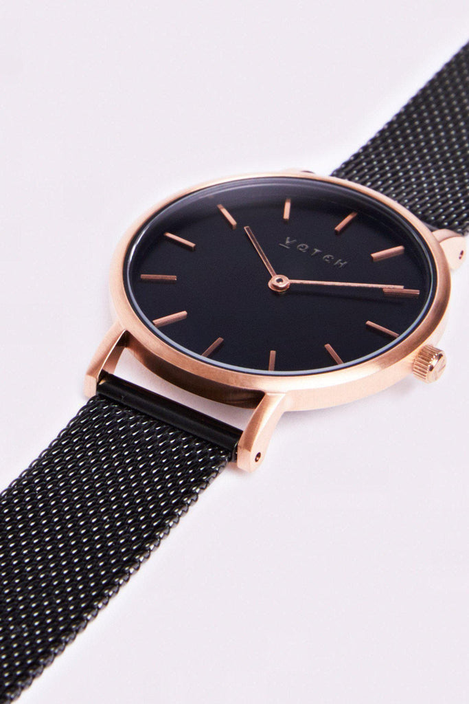 Mesh Petite Stainless Steel Watch in Black, Rose Gold, Black Strap