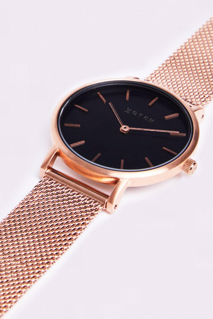 Mesh Petite Stainless Steel Watch in Black, Rose Gold, Rose Gold Strap