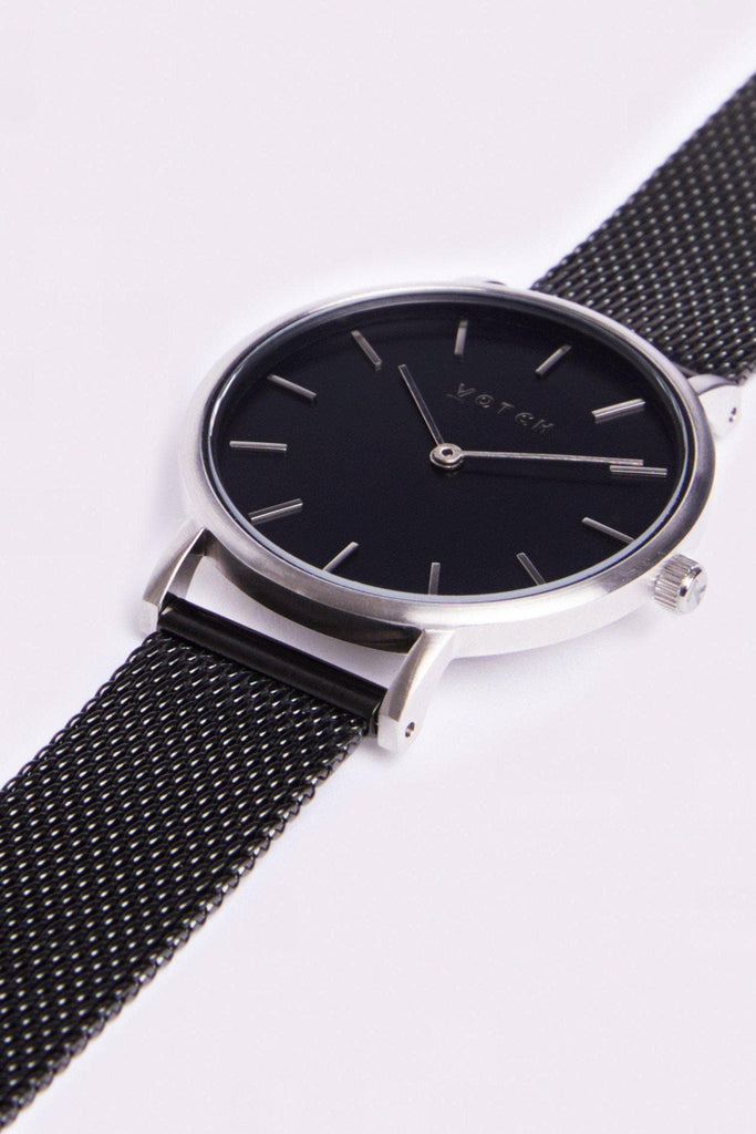 Mesh Petite Stainless Steel Watch in Black, Silver, Black Strap