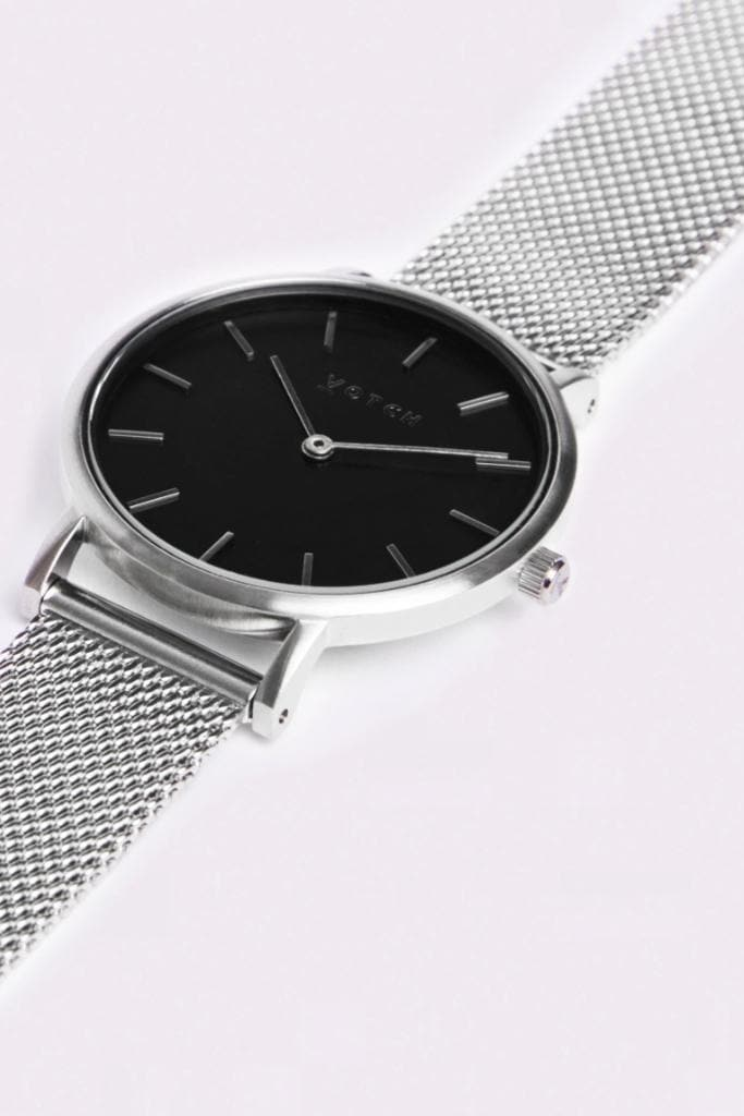 Silver & Silver with Black | Mesh Petite - Black Watch - 16mm, Black Face, Classic Mesh Petite