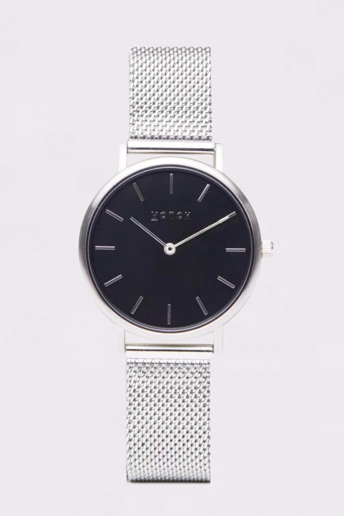 Silver & Silver with Black | Mesh Petite - Mesh Wrist Watch - 16mm, Black Face, Classic Mesh Petite - Votch