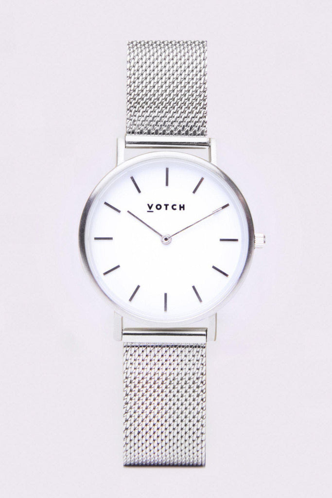 Mesh Petite Stainless Steel Watch in White, Silver, Silver Strap
