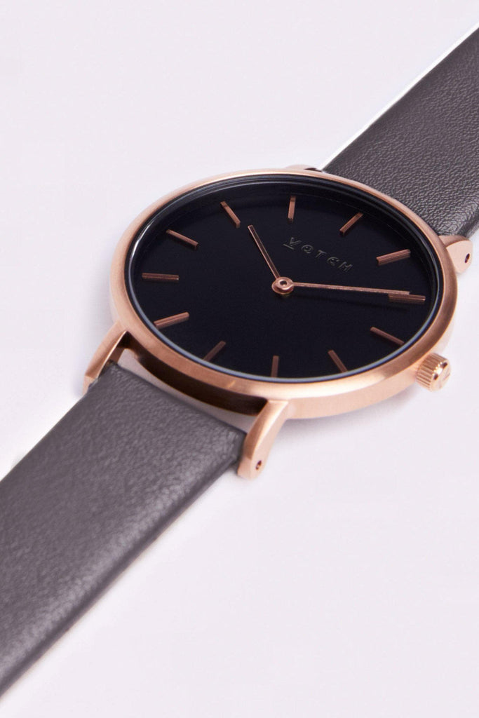 Petite Vegan Leather Watch in Black, Rose Gold, Dark Gray Strap