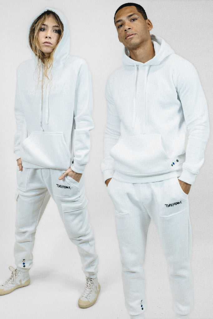 Ellis Recycled Cotton & Polyester Unisex Hoodie in White