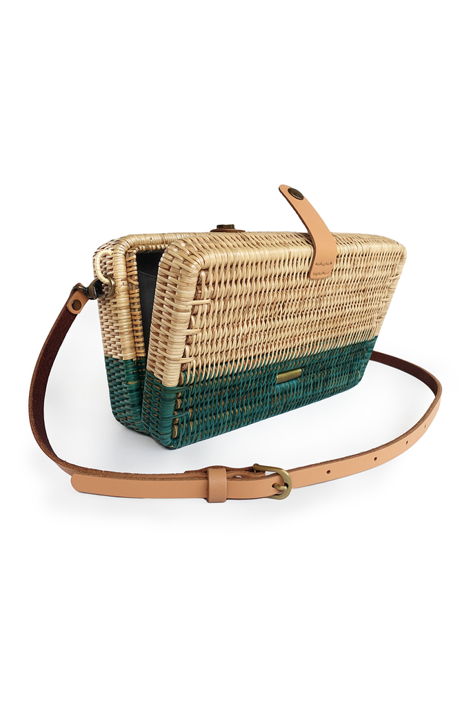 Syuti Ray Artisan Rattan Bag in Natural with Pastel Dark Green, Nude Handle