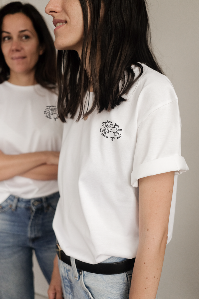 Unisex Rozalina Burkova - embroidery Organic Cotton T-shirt in White