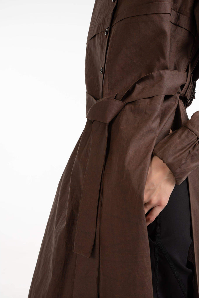 Ren Natural Cotton Shirt Dress in Brown