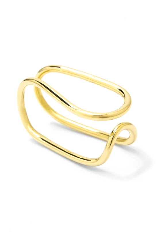 Handmade Two Fingers G Ring in Brass or Silver