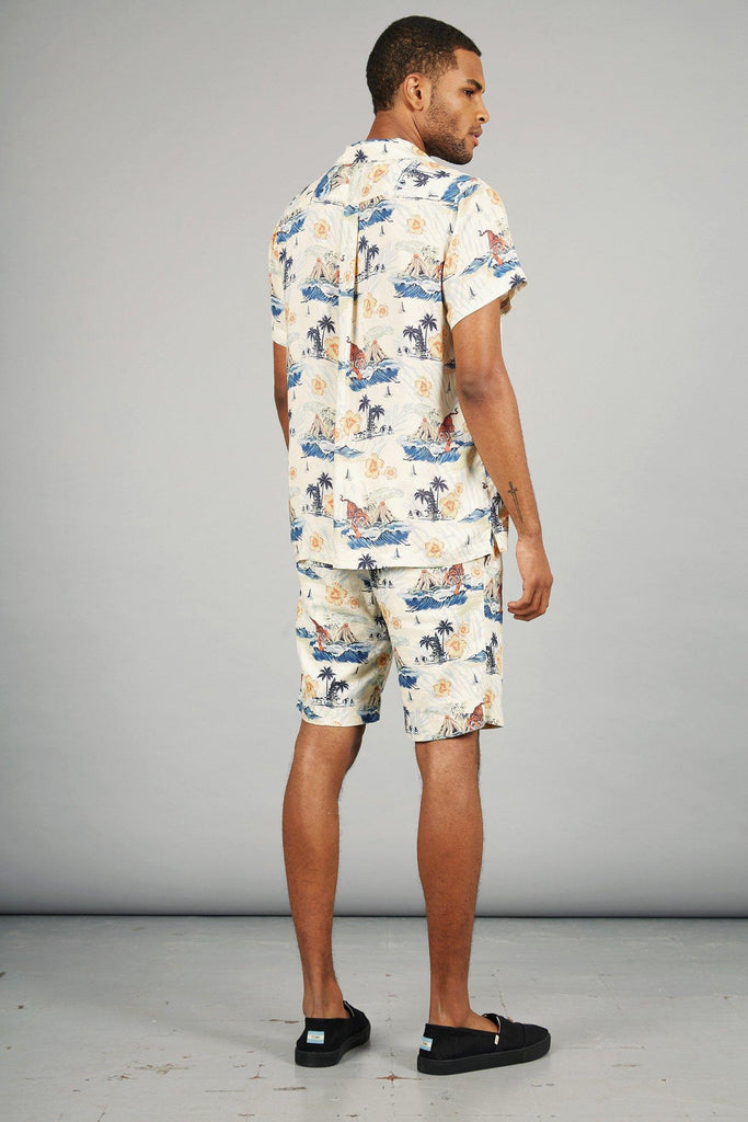 Bobby Organic Linen & Viscose Pleat Shorts in Bali Surf Print