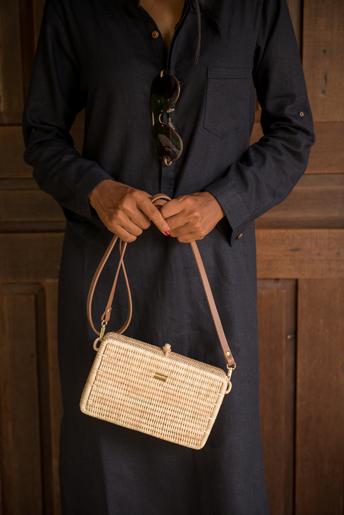 Syuti One Artisan Rattan Bag in Natural with Nude Handle