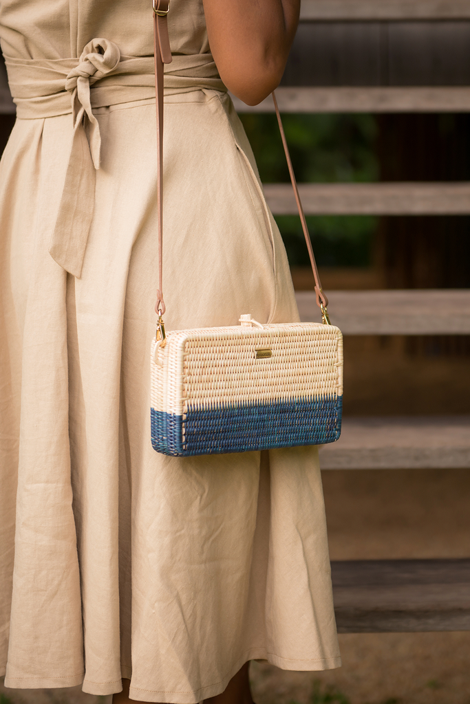 Syuti Ray Artisan Rattan Bag in Natural with Navy Blue, Nude Handle