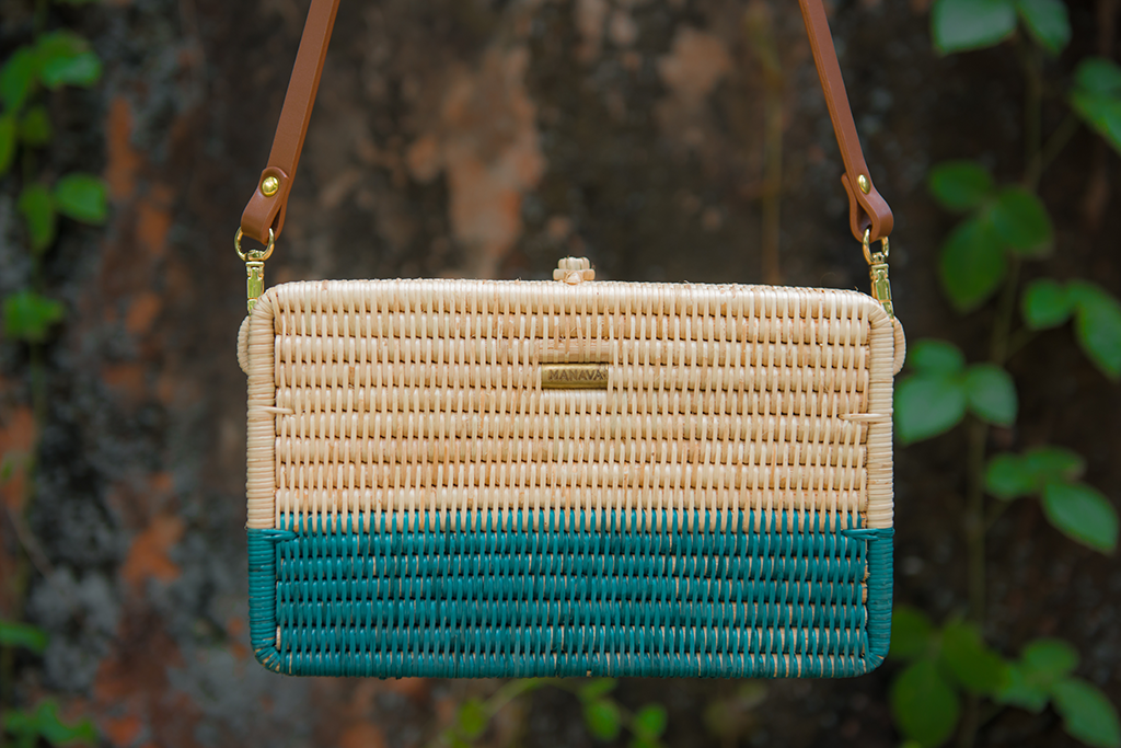 Syuti Ray Artisan Rattan Bag in Natural with Pastel Dark Green, Brown Handle