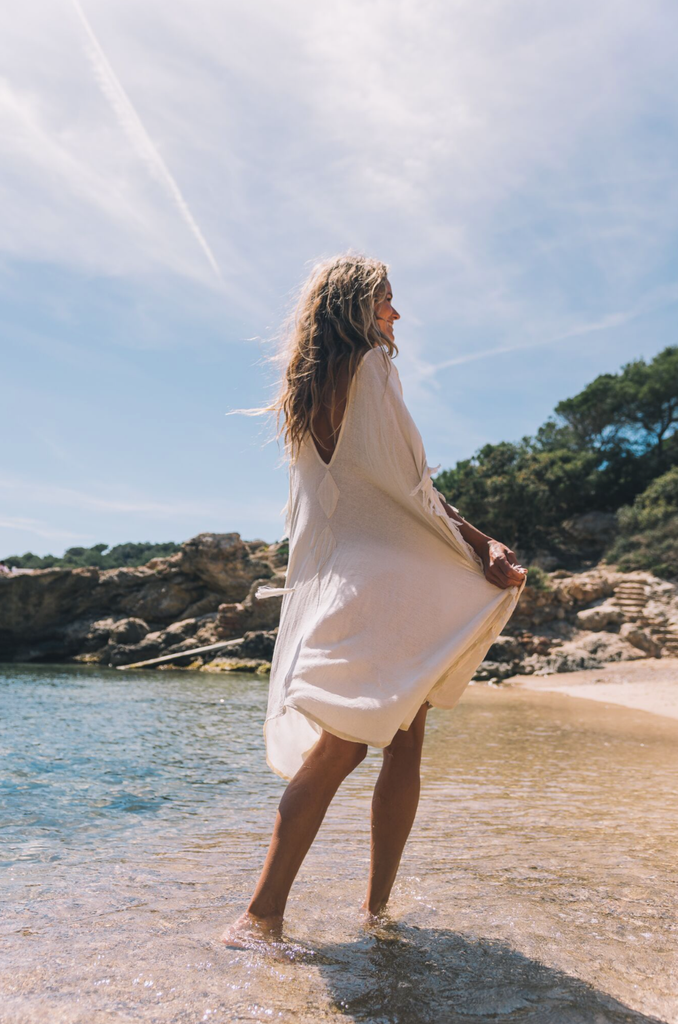 Capri Organic Silk Kaftan in White