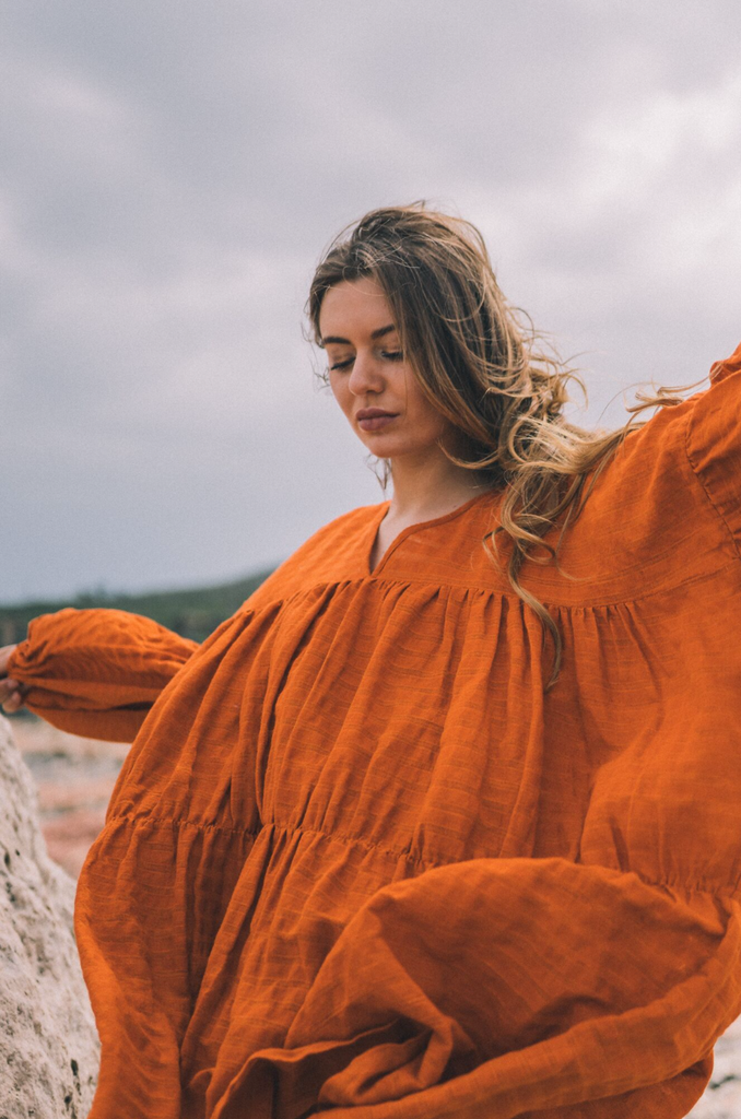 Symi Handwoven Pure Cotton Dress in Orange