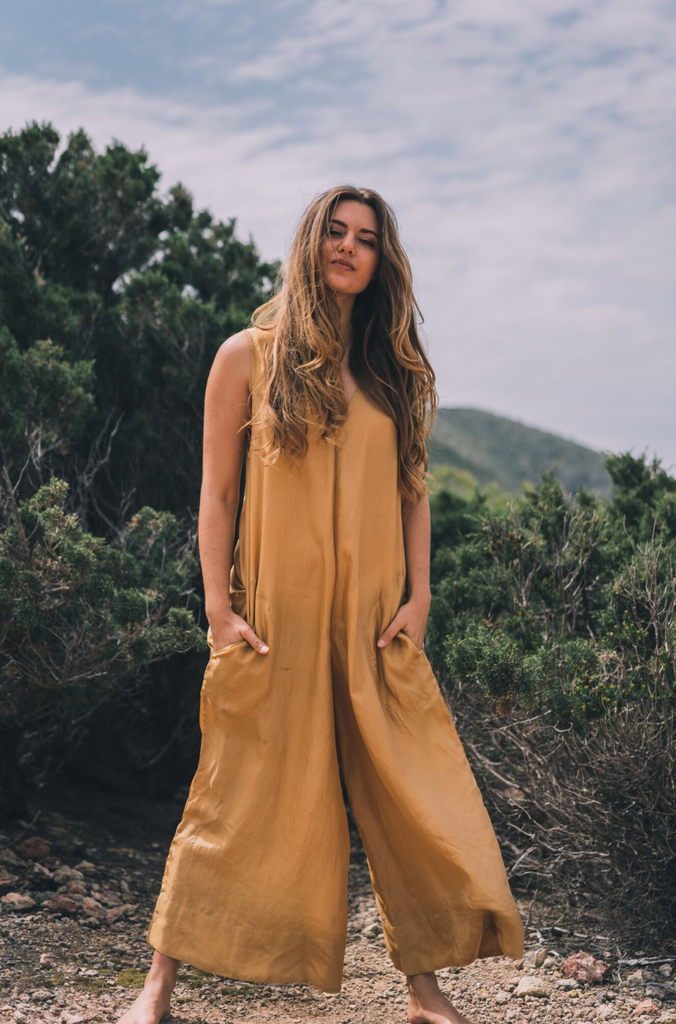 Milos Organic Silk Jumpsuit in Gold