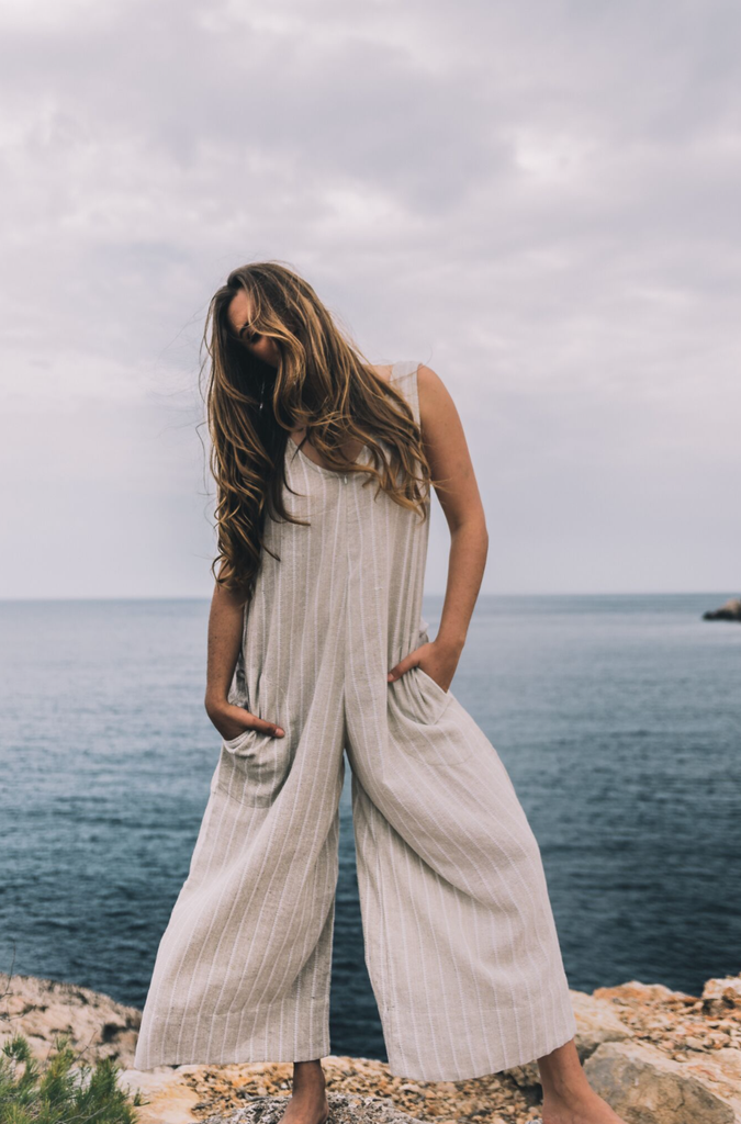 Milos Handwoven Organic Cotton Jumpsuit in Cream