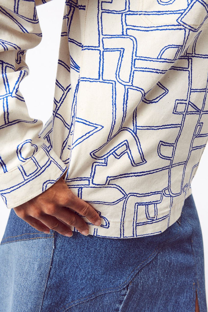 Work Sustainable Cotton Jacket in White with Blue Shapes
