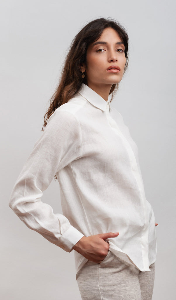 Abelia Vegan Hemp & Cotton & Tencel Shirt in Natural White