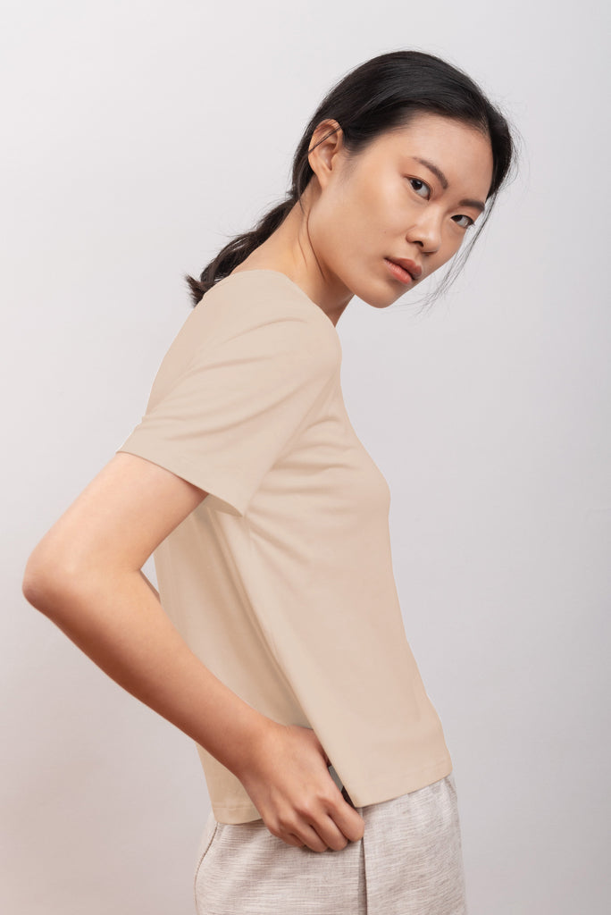 Narciso Ethical Bamboo T-shirt in Sand