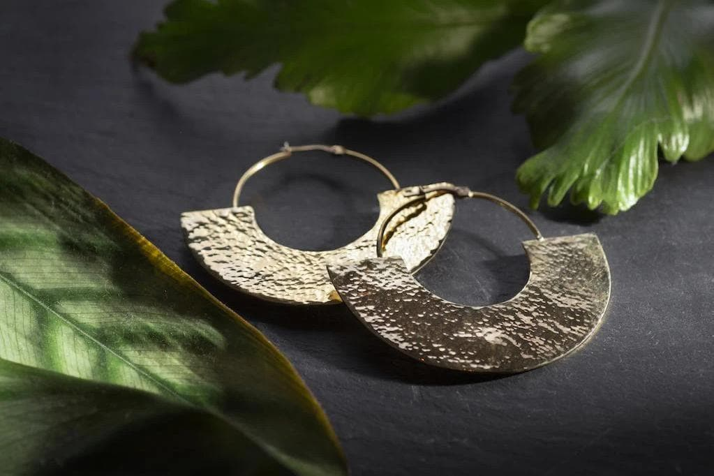 Sigoma Hammered Recycled Brass Hoop Earrings