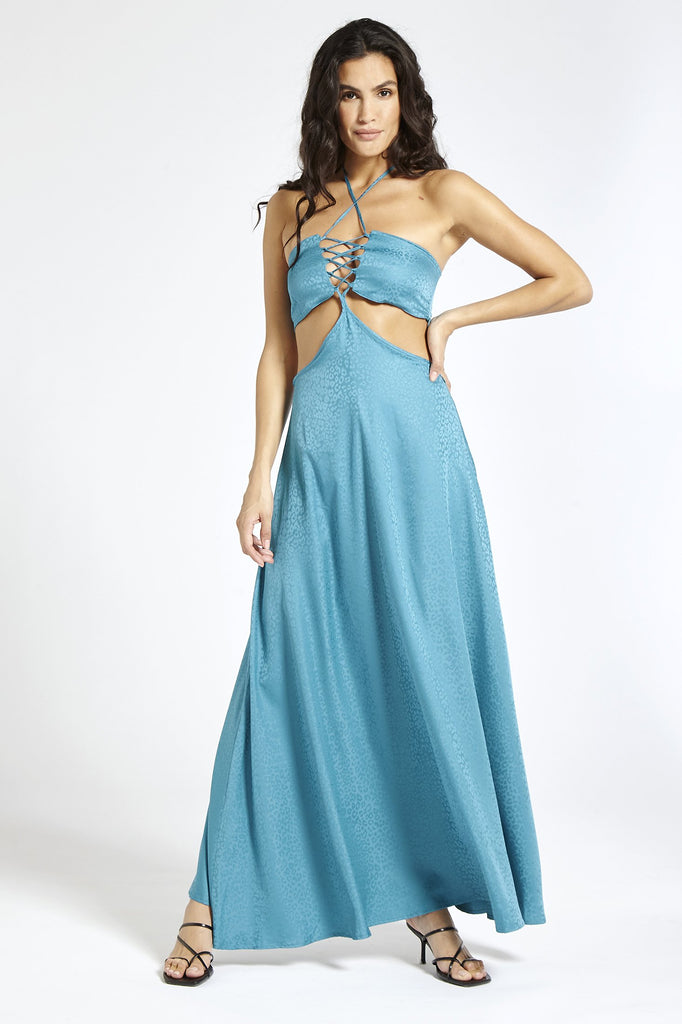 Recycled Satin Maxi Dress in Blue