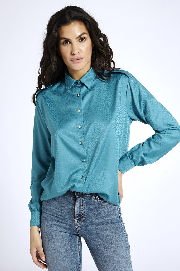 Recycled Satin Shirt in Blue