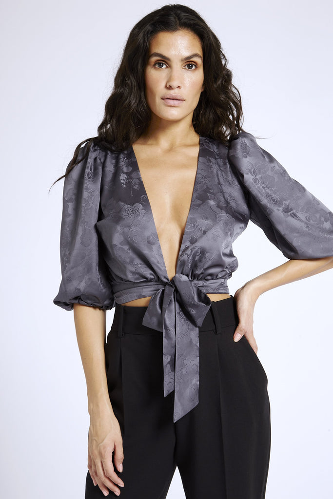 Recycled Satin Puff Sleeve Top in Gray