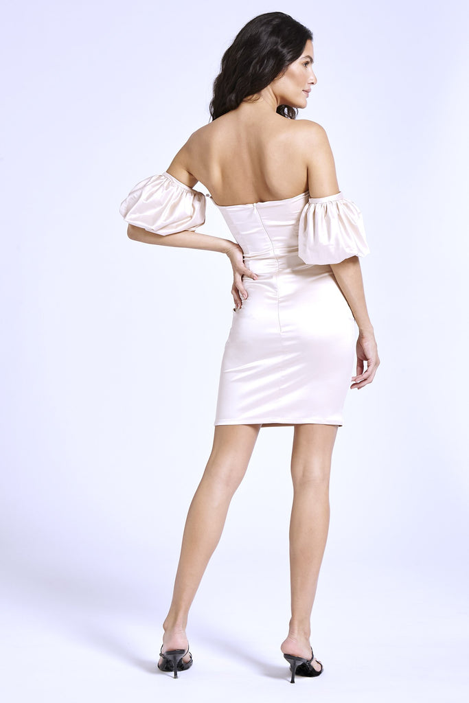 Recycled Satin Puff Sleeve Strapless Dress in Nude