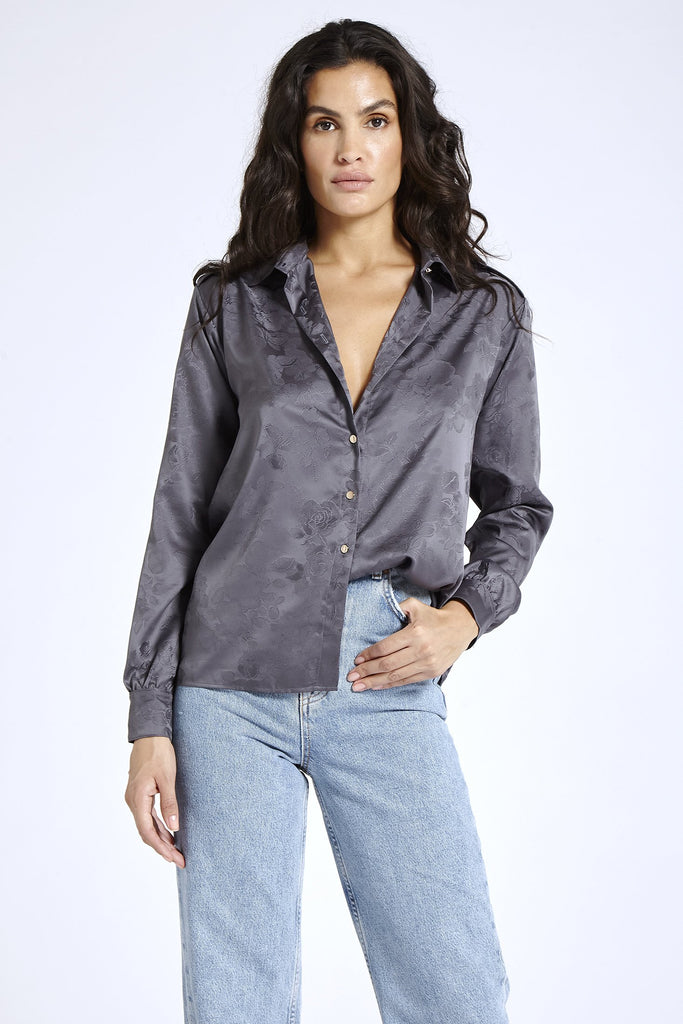 Recycled Satin Shirt in Gray
