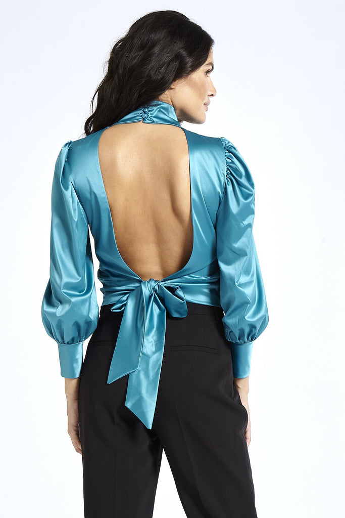 Recycled Satin Open Back Blouse in Blue