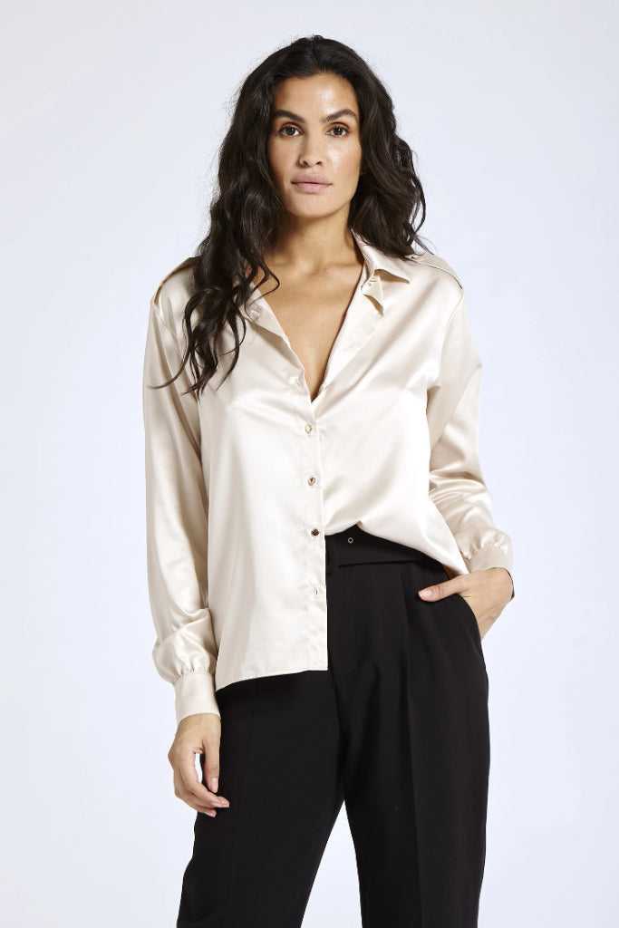 Recycled Satin Shirt in Nude