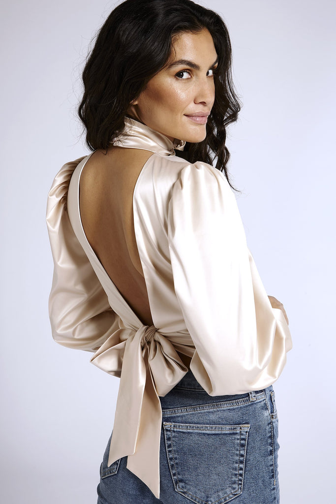 Recycled Satin Open Back Blouse in Nude