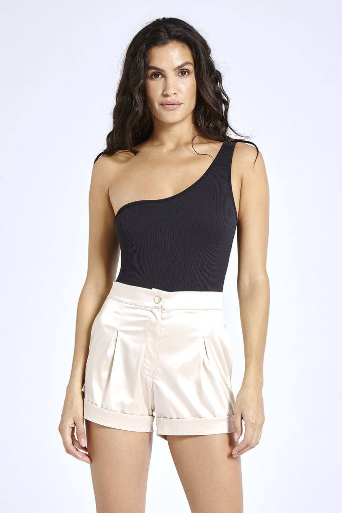 Recycled Satin Tailored Shorts in Nude