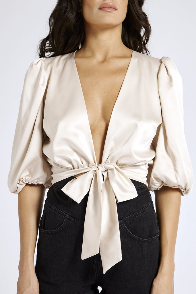 Recycled Satin Puff Sleeve Top in Nude