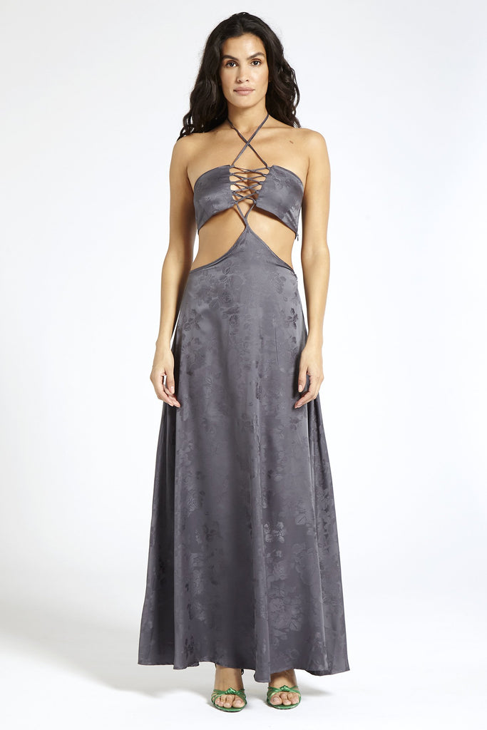 Recycled Satin Maxi Dress in Gray