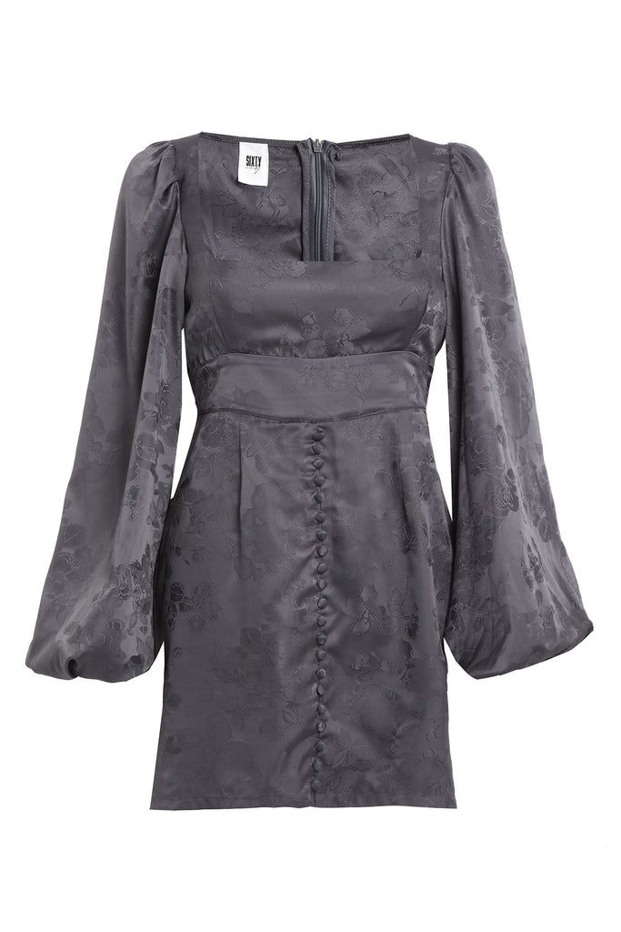 Bell Sleeve Recycled Satin Dress in Jacquard Gray