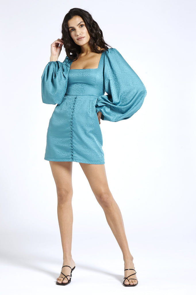 Bell Sleeve Recycled Satin Dress in Blue